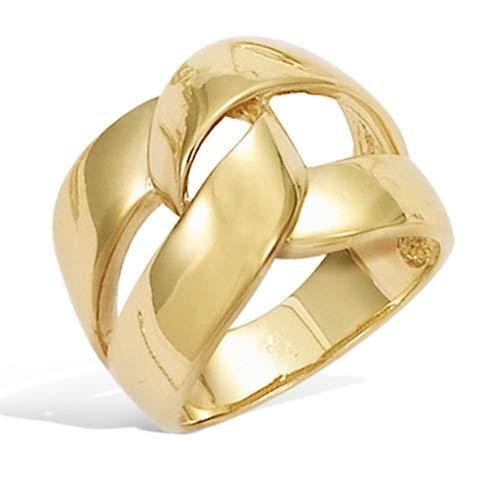Rendez-vous RueParadis Paris - Anillo Ancho - Eslabones Grandes - Bañada En Oro 18 Quilates 3 Micras - Joya De Mujer Exquisita - Rebajas De Verano