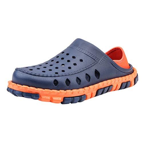 Yowablo Herren Clogs Herrenschuhe Schuhe Herren Sommer Casual Flats Löcher Leichte Hausschuhe Strand Atmungsaktives Loch (41 EU,Blau)