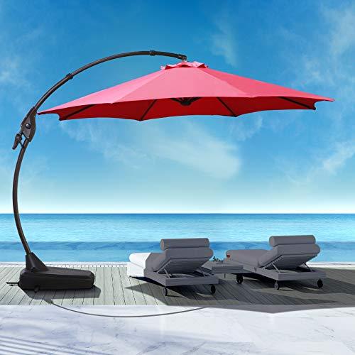 Large Outdoor Patio Umbrella Goognice 12 FT Heavy Duty Aluminum Cantilever Umbrella Offset Hanging...