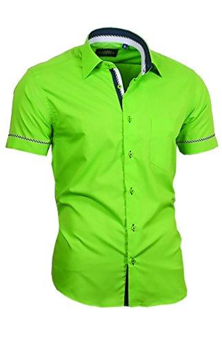 Binder de Luxe Herren Hemd Shirt modern fit mit Brusttasche Kurzarm Kentkragen 840 grün XL 44