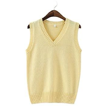 Men Women Knitted Cotton V-Neck Vest JK Uniform Pullover Sleeveless Sweater School Cardigan Yellow