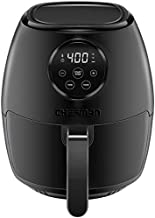 Chefman TurboFry 3.5 Liter Air Fryer Oven w/ Digital Touch Screen, Dishwasher Safe Flat Basket, Healthy Oil-Free Airfryer w/ 60 Minute Timer & Auto Shutoff, BPA-Free, Matte Black, Cookbook Included