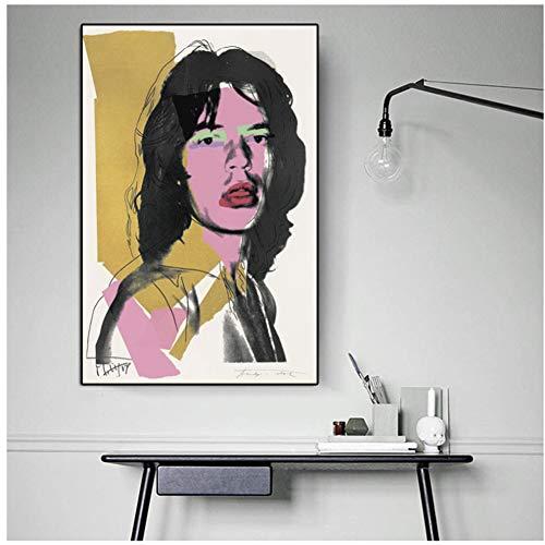 A&D Andy Warhol Poster Mick Jagger Porträtdruck Leinwand Malerei Wandbilder für Wohnzimmer Wohnkultur-50x70 cm Kein Rahmen