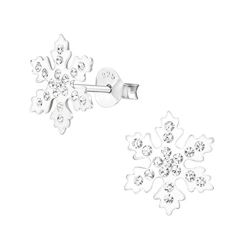 Sterling Silver Snowflake Earrings with Crystal Stones - Christmas