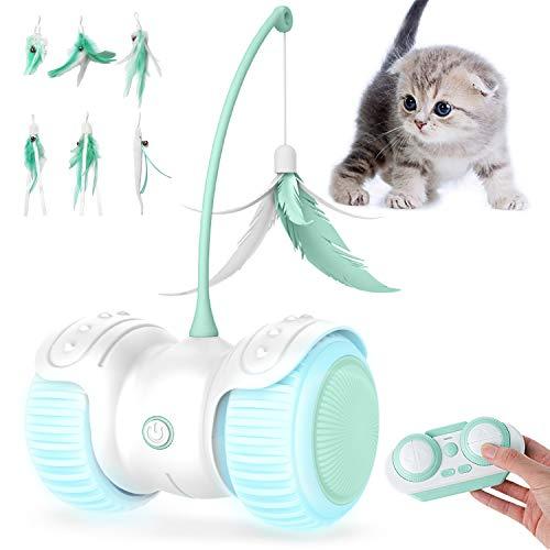 YIEZI Interaktywna elektryczna zabawka dla kotów, z piórami, z diodą LED dla kotów, kotów, ładowanie przez USB, inteligentna zabawka dla kotów, zwierząt domowych
