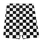 Black White Plaid Gingham Checkered Boy's Swim Trunks Quick Dry Board Shorts Water Beach Board Shorts XL(18-20)