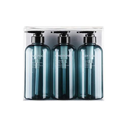 jingli Paquete de 3 botellas vacías de champú de 500 ml, botellas de plástico de 17 onzas con dispensador de jabón botella para uso en baño o cocina – Lociones, champú, acondicionador, gel de ducha