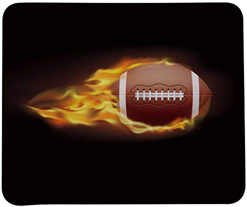 VIVIPOW Football Fire Background Mouse Pad,Stitched Edges Mouse Pad with Football Patten