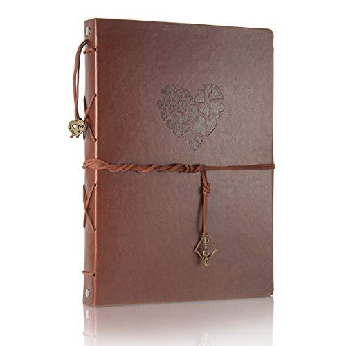 ThxMadam Scrapbook Cuero Álbum de Fotos Libro de Visitas de Boda con 60 Páginas Negras Presentes para Regalo de Valentín Día de Aniversario Navidad Cumpleaños para Esposa Hija Madre,Corazón Grande