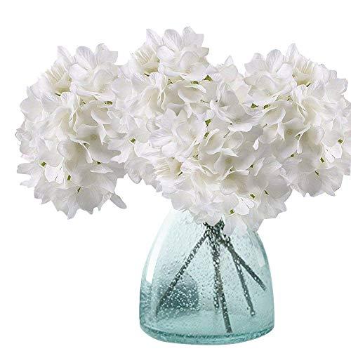 MEIWO Künstliche Blumen, 2 Pcs Real Touch Latex Künstliche Hydrangea Seide Blumen in Vasen für Hochzeit Dekor/Home Dekor/Party/Graves Arrangement(Weiß)