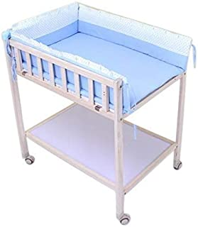 Changing table Newborn Changing Table On Wheels,Baby Bathing Massage Baby Cot Foldable Changing Diapers Dresser with Pad (Color : Blue)