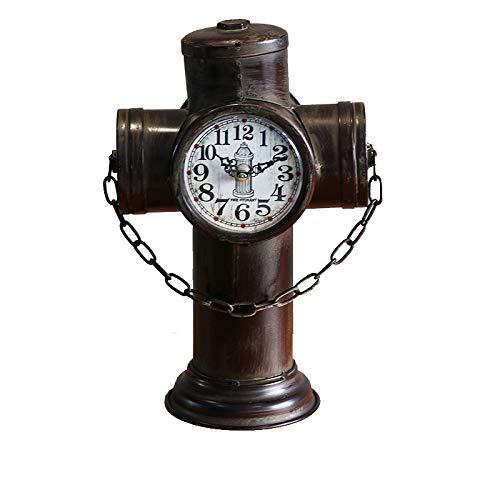 QXbecky LOTF Industrial Viento Retro Reloj de hidrante de Hierro Forjado Adornos creativos para el hogar encimera Reloj Decorativo 24X14X33CM Rojo 24X14X33CM