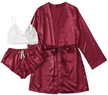 SOLY HUX Women s Sleepwear Floral Lace Trim Satin Cami Pajama Set with Robe Burgundy 3pack Small product image