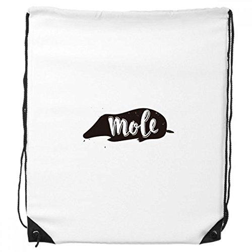 Mole zwart en wit dier trekkoord rugzak winkelen handtas gift sport tassen