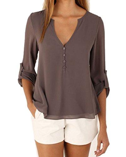 AIYUE Camicia Donna Collo a V Maniche Lunghe in Chiffon Camisetta Bluse Basic Estivo Causal Allentato Colore Solido Top(grigio,S)