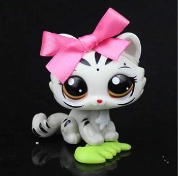 Rare Pet Shop White Grey Tiger Kitten Cat Animal LPS #3585 Pink Bowknot