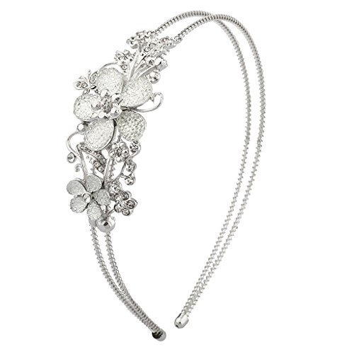 Lux Accessories Faceted Floral Flower Pave Crystal Stretch Bride Bridal Bridesmaid Wedding Headband
