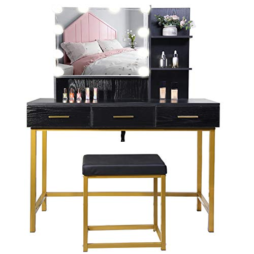 IWELL Large Vanity Set with Rectangular Mirror, Vanity Table with 3 Drawers & 2 Shelves, Makeup Table with Padded Cushioned Stool, Vanity Dressing Table, for Girls, Bedroom, Bathroom, White
