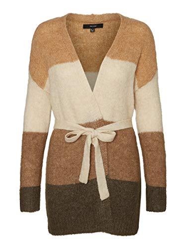 VERO MODA Damen Strick-Cardigan VMIsabella Colour-Block mit Gürtel 10231552 tan:Birch/Sepia Tint L