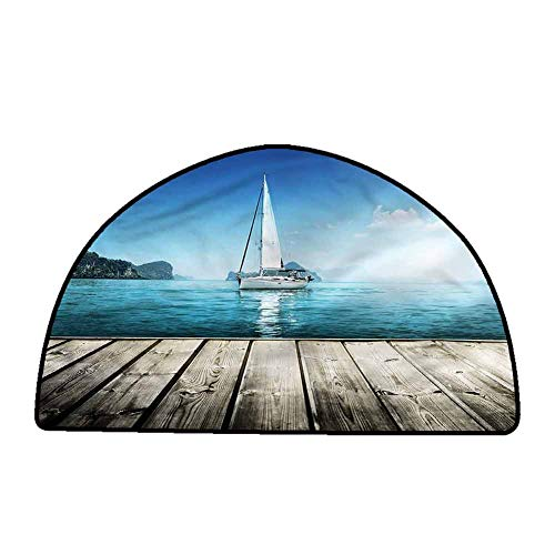 Non-Slip Bath Hotel Mats Nautical,Yacht and Wooden Deck,W31 x L20 Half Round Rugs for Sale