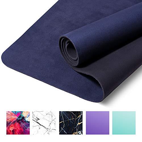 CASAFIT Fitnessmatte, Yogamatte, Gymnastikmatte - 183cm x 68cm x 4mm aus umweltfreundlichem Naturkautschuk und rutschfest mit Design und Tragegurt (Deep Black)