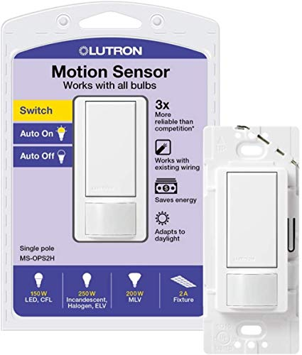 Lutron Maestro Motion Sensor Switch No Neutral Required 250 Watts SinglePole MSOPS2WH White