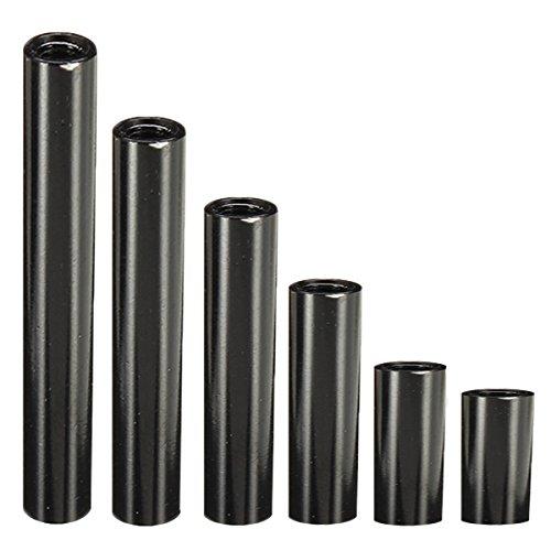 ChaRLes M3AR2 M3 Aluminiumlegierung Standoff Stehbolzen 8-35mm Schwarz Runde Leiterplatte Abstandshalter Abstandsbolzen 10pcs - 30mm
