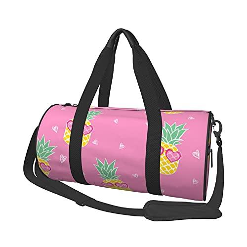 Bolsa de deporte de viaje, color rosa, gafas de sol de piña, redonda, portátil, ligera, plegable, para hombre y mujer
