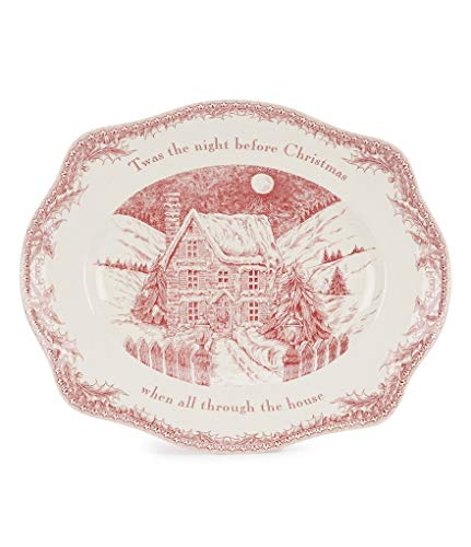 Johnson Brothers Twas the Night Oval Platter, 15', pink and ivory