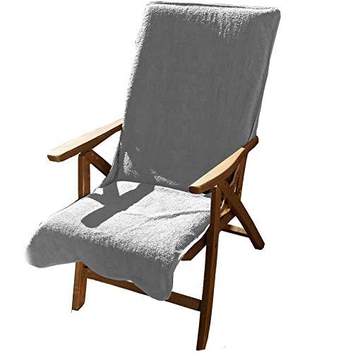 JEMIDI Frottee Schonbezug für Gartenstühle 100% Baumwolle Gartenstuhl 60cm x 130cm Frotteebezug Baumwolle Auflage Schonauflage Bezug Liege Sonnenliege Gartenstuhlbezug Auflagenbezug Hellgrau