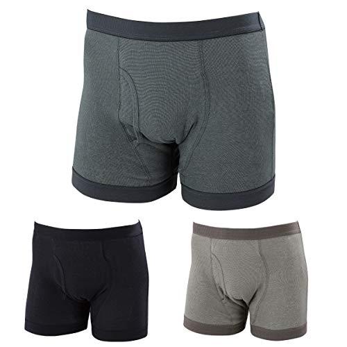失禁パンツ 男性用 尿漏れパンツ メンズ トランクス セット お尻まで安心ニットトランクス 3色組(LL)
