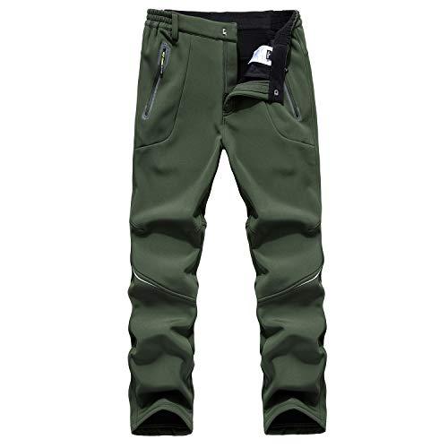 BWBIKE Herren Winter Fleece Dicke warme Outdoor Hose Winddichte Wasserabweisende Hose Wanderhose Herren Softshellhose (Armee-Grün, Taille 84-88cm(Etikette XL))