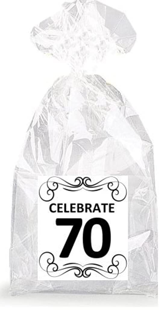Elegant Celebrate 70th Birthday Party Favor Bags with Ties - 12pack