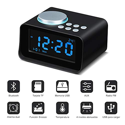 Wonyered Altavoces Inalámbrico Reloj Bluetooth Portátil Despertador Digital Radio FM Pantalla LCD Regulable con Alarma Dual Soporte Llamada Manos Libres