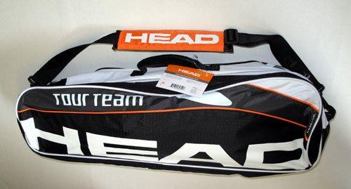 HEAD - Badminton-Schlägerhüllen in schwarz/orange/weiß, Größe 70x24x10 cm