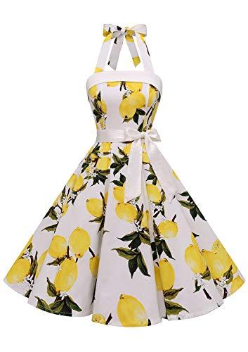 Timormode – Vestido de cóctel sexy, retro, vintage, para mujer, diseño de los años 40, 50 y 60, estilo Rockabilly, con escote C- Blanc Citron XXXL