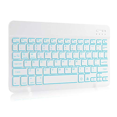 Wireless Bluetooth Keyboard with 7-Colors Backlit, Rechargeable Slim Full Size BT Wireless Keyboard with Number Pad for Computer/Laptop/Desktop/Smart TV/PC/Tablet Black (9.7in-10.5in, White)