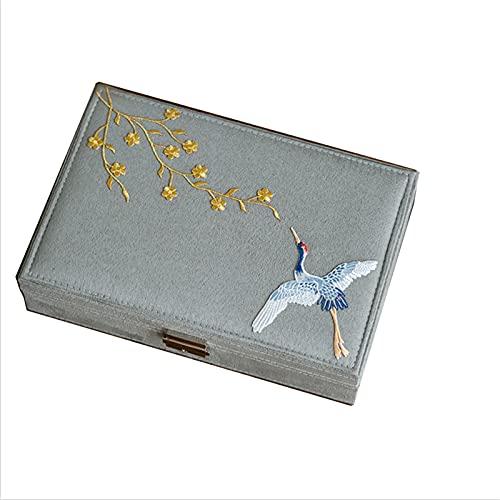 Jewelry Box XIAOXIAO - Funda de franela con cerradura, estilo retro chino con acabado de bordado, collar, organizador de almacenamiento de anillos (tamaño: B)