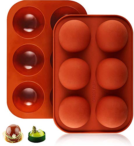 6 Holes Medium Semi Sphere Silicone Mold,Baking Mold for Making Hot Chocolate Bomb, Cake, Jelly, Dome Mousse,2 1/2 inches, Set of 2 piece, Creative DIY Handmade Mold for Kitchen Cake Room (Brick Red)