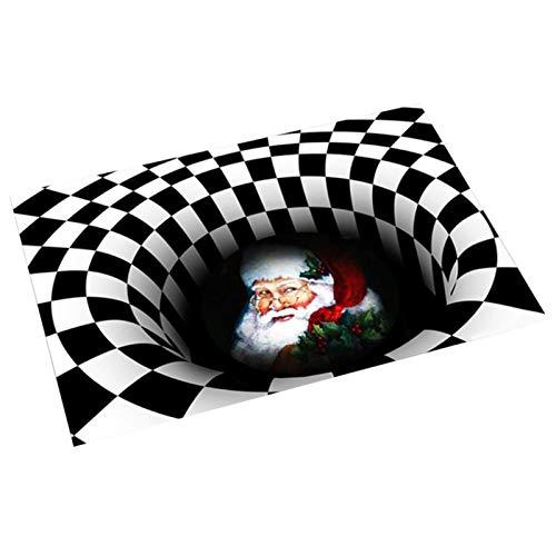 Christmas Doormat,3D Christmas Area Rugs,Vortex Illusion Rug, Square Non-Slip Floor Mat,Vortex Illusion Rug, Square Non-Slip Floor Mat,3D Swirl Print Optical Illusion Rug Christmas Rug For Living Room