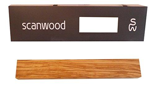 Scanwood Edle Massive Olivenholz Magnet Messerleiste geölt - Design Magnetleiste aus FSC-zertifizierten echtem Olivenholz mit den stärksten N45 Neodym Magneten überhaupt - Messerleiste Holz