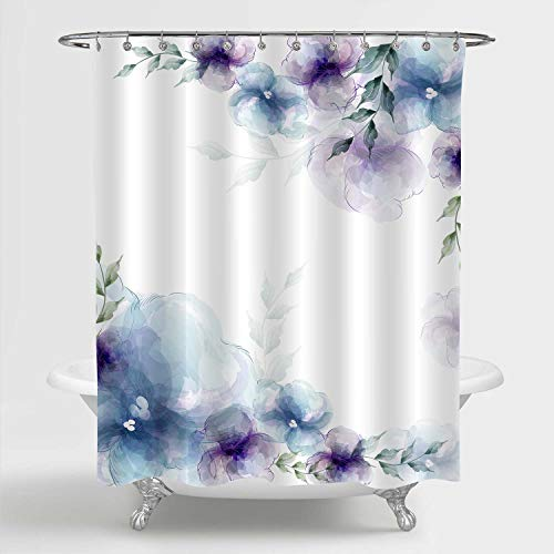 MitoVilla Retro Spring Floral Shower Curtain, Blue Purple Flowers and Green Leaves Art Print Bathroom Accessories for Women and Girls Flowered Home Decor, 72' W x 72' L Standard for Bathtub
