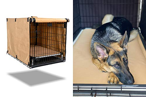 K9 Ballistics Tough Crate Cover - 36 Inch Dog Crate Cover Durable Pet Kennel Cover Universal Fit for Wire Dog Crate (Tan)