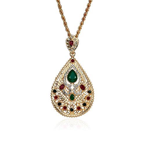 HEYLULU árabe musulmán Mujeres Gema Colgante de Diamantes de imitación Collar Cadena de joyería Collar Oro