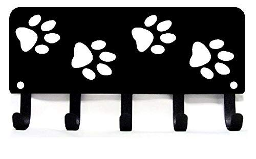 The Metal Peddler Walking Paws Key Rack Hanger & Dog Leash Organizer - Small 6 inch Wide - Made in USA