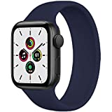 WAAILU Solo Loop Band Compatible with Apple Watch SE Series 6 Bands 38mm 40mm 42mm 44mm, No Clasps or Buckles, Stretchable Soft Silicone, Compatible for iWatch Series 5/4/3/2/1-(Deep Navy-42/44-10)