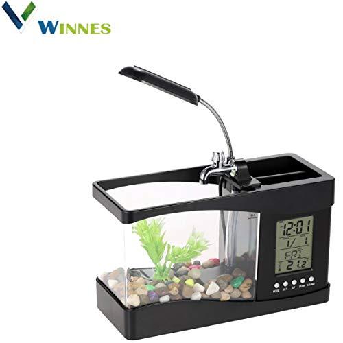 Winnes Mini USB LCD Aquarium pour Poissons réservoir Horloge décoration de Bureau, LED Kit Aquarium, décorations d'aquarium (Noir)