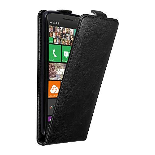 Cadorabo Hülle für Nokia Lumia 930 in Nacht SCHWARZ - Handyhülle im Flip Design mit unsichtbarem Magnetverschluss - Hülle Cover Schutzhülle Etui Tasche Book Klapp Style