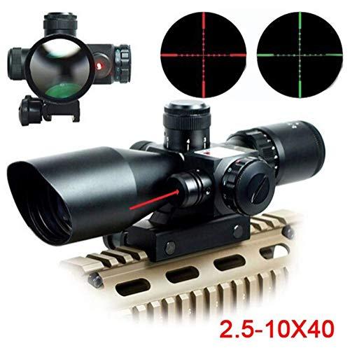 TcooLPE Lunette de visée Tactique 2.5-10x 40mm Point de visée Rouge Vert illuminé avec Support pour tir de Chasse Airsoft