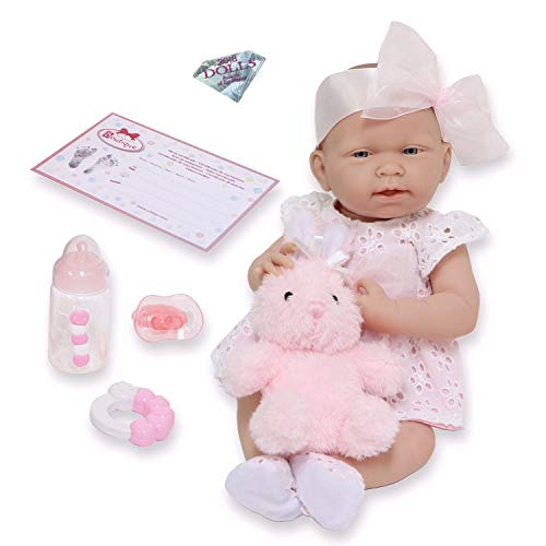 JC Toys La Newborn All-Vinyl-Anatomically Correct Real Girl 15 Doll in White Eyelet Dress with Fluffy Bunny and Accessories Designed by Berenguer